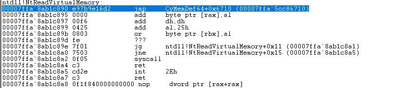 Cylance's hook in ntdll.dll.