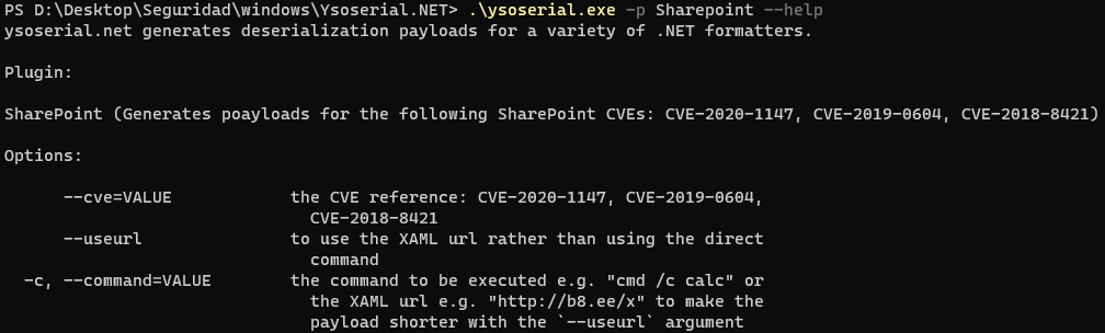 Ysoserial's SharePoint payloads.